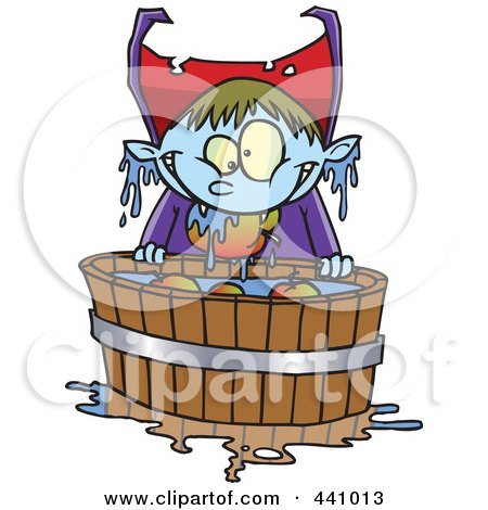 Royalty-Free (RF) Clip Art Illustration of a Cartoon Vampire Bobbing For Apples by toonaday