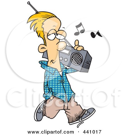 Royalty-Free (RF) Clip Art Illustration of a Cartoon Man Carrying A Boom Box by toonaday