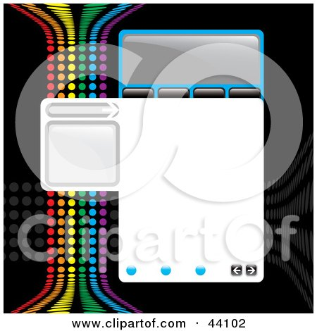 Clipart Illustration of a Website Design Template With Tabs, Text Space And A Rainbow Colored Wave On Black by Arena Creative