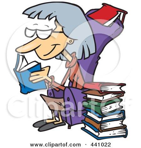 Royalty-Free (RF) Clip Art Illustration of a Cartoon Senior Woman Reading Books by toonaday