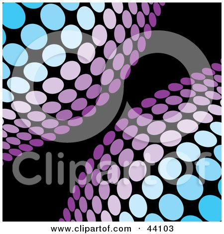 Clipart Illustration of Blue And Purple Half Circles Of Dots On A Black Background by Arena Creative