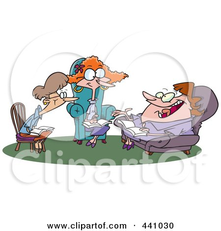 Royalty-Free (RF) Clip Art Illustration of Cartoon Women Talking During A Book Club Meeting by toonaday