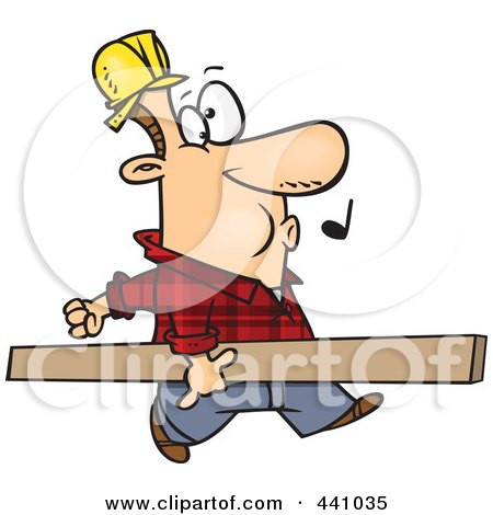 Royalty-Free (RF) Clip Art Illustration of a Cartoon Carpenter Whistling And Carrying A Board by toonaday