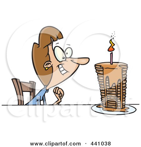 Royalty-Free (RF) Clip Art Illustration of a Cartoon Birthday Woman With A Stack Of Pancakes by toonaday