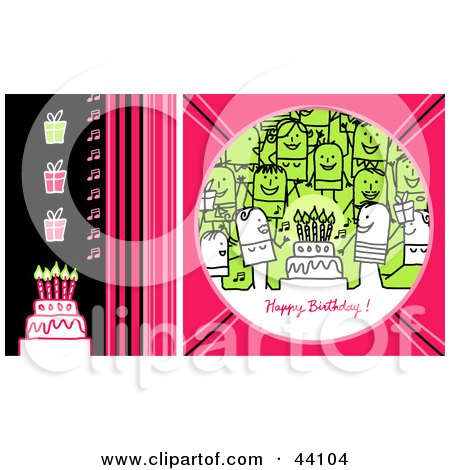 Clipart Illustration of a Pink, Green And Black Happy Birthday Stick People Greeting With A Party, Gifts And Cake by NL shop
