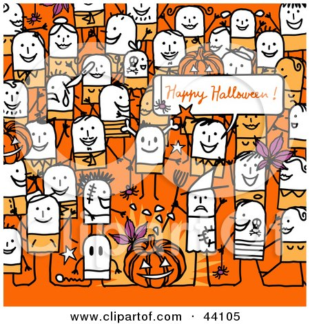 Celebration Clip  on Clipart Illustration Of A Crowd Of Stick People At A Halloween Party