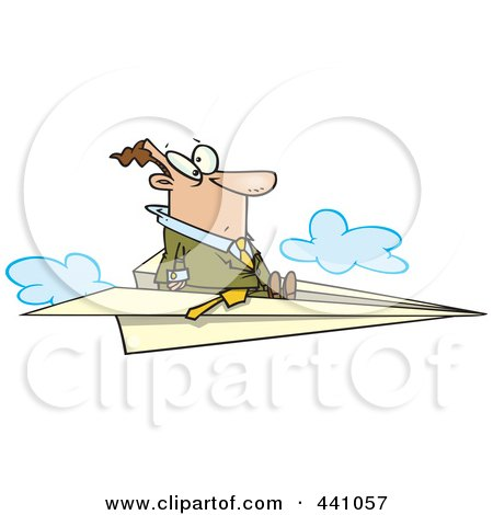 Royalty-Free (RF) Clip Art Illustration of a Cartoon Businessman Flying On A Paper Airplane by toonaday