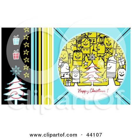 Clipart Illustration of a Blue, Yellow And Black Stick People Happy Christmas Greeting by NL shop