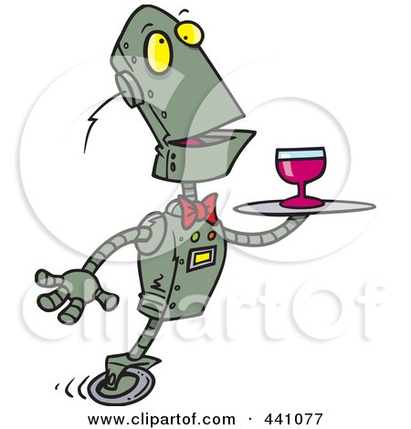Royalty-Free (RF) Clip Art Illustration of a Cartoon Butler Robot Serving Wine by toonaday