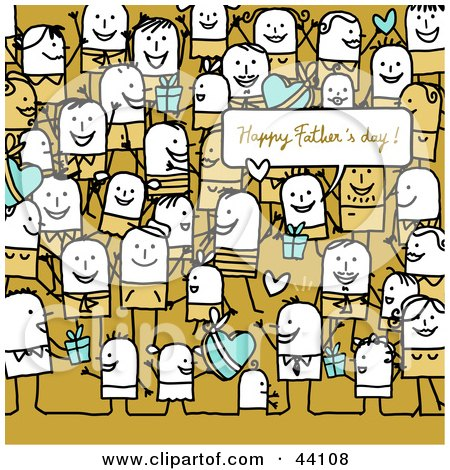 Clipart Illustration of a Crowd Of Stick People At A Fathers Day Party by NL shop