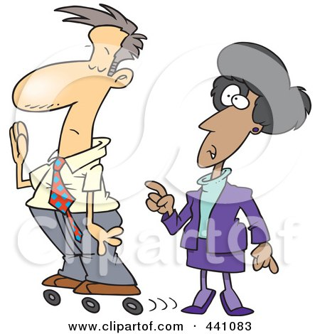 Royalty-Free (RF) Clip Art Illustration of a Cartoon Busy Businessman Rollerskating Past His Boss by toonaday