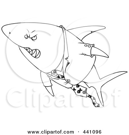Royalty-Free (RF) Clip Art Illustration of a Cartoon Black And White Outline Design Of A Business Shark In A Suit by toonaday