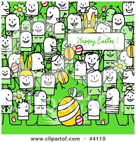 Clipart Illustration of a Crowd Of Stick People At An Easter Egg Hunt by NL shop