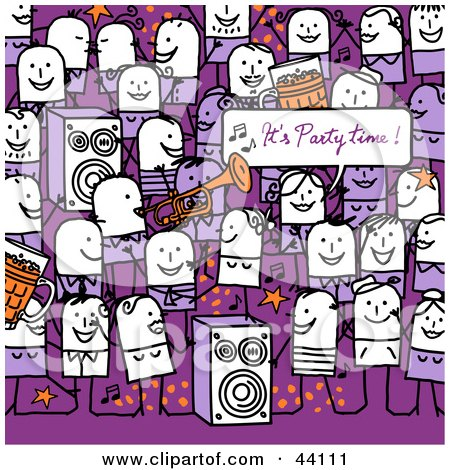 Clipart Illustration of a Crowd Of Stick People Dancing And Playing Music At A Party by NL shop
