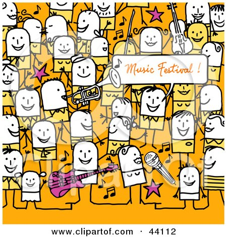 Clipart Illustration of a Crowd Of Stick People At A Music Festival by NL shop