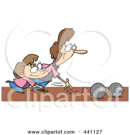 Royalty-Free (RF) Clip Art Illustration of a Cartoon Mother And Daughter Bowling by toonaday