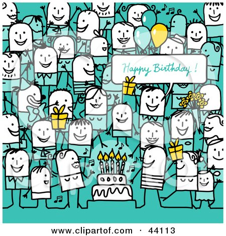 Crowd Of Stick People At A Birthday Party Posters, Art Prints