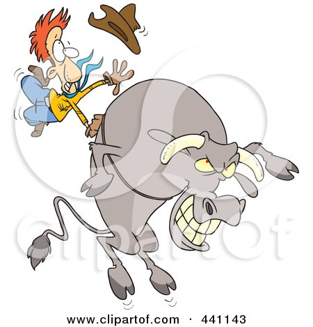 Royalty-Free (RF) Clip Art Illustration of a Cartoon Cowboy Riding A Giant Bull by toonaday