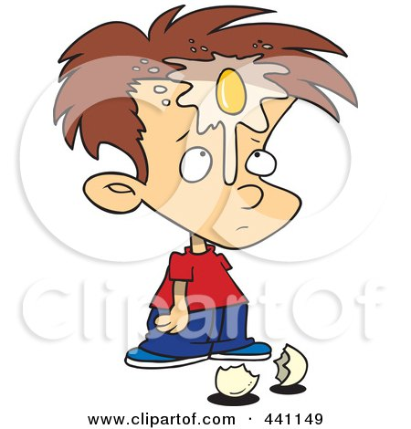 Royalty-Free (RF) Clip Art Illustration of a Cartoon Boy With An Egg On His Face by toonaday