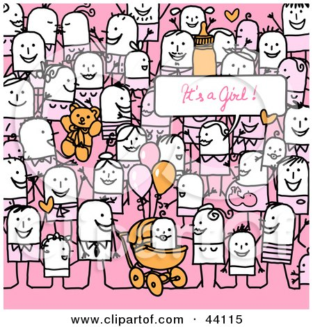Clipart Illustration of a Crowd Of Stick People Celebrating The Birth Of A Girl by NL shop