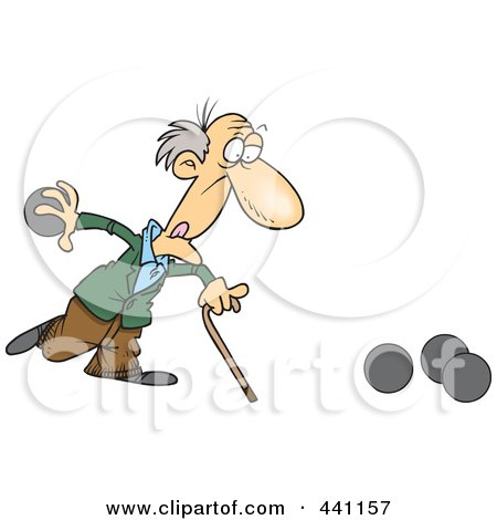 Royalty-Free (RF) Clip Art Illustration of a Cartoon Old Man Playing Bowls by toonaday