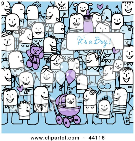 Clipart Illustration of a Crowd Of Stick People Celebrating The Birth Of A Boy by NL shop