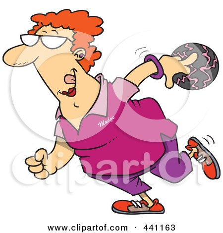 Royalty-Free (RF) Clip Art Illustration of a Cartoon Woman Bowling by toonaday