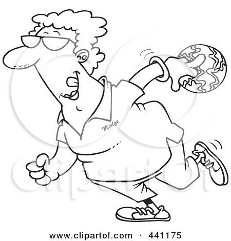 Royalty-Free (RF) Clip Art Illustration of a Cartoon Black And White Outline Design Of A Woman Bowling by toonaday