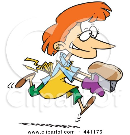 Royalty-Free (RF) Clip Art Illustration of a Cartoon Female Baker With Fresh Bread by toonaday
