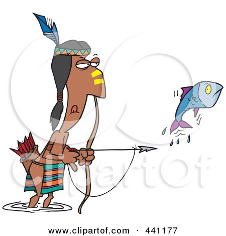 Royalty-Free (RF) Clip Art Illustration of a Cartoon Native American Man Bow Fishing by toonaday