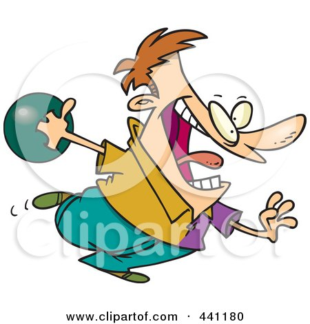 Royalty-Free (RF) Clip Art Illustration of a Cartoon Man Bowling by toonaday