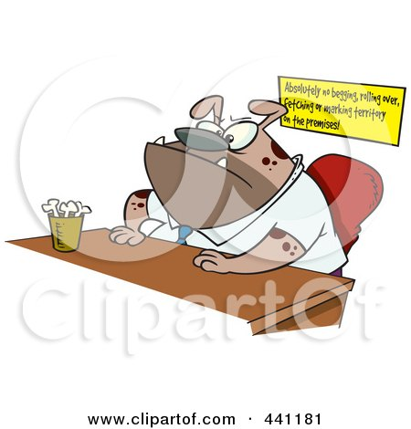 Royalty-Free (RF) Clip Art Illustration of a Cartoon Boss Dog Sitting At His Desk by toonaday