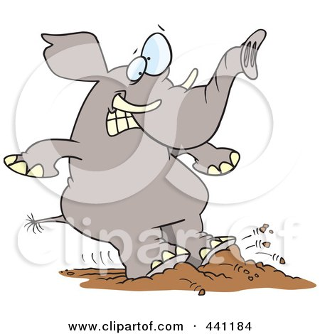 Royalty-Free (RF) Clip Art Illustration of a Cartoon Elephant Braking With His Feet by toonaday