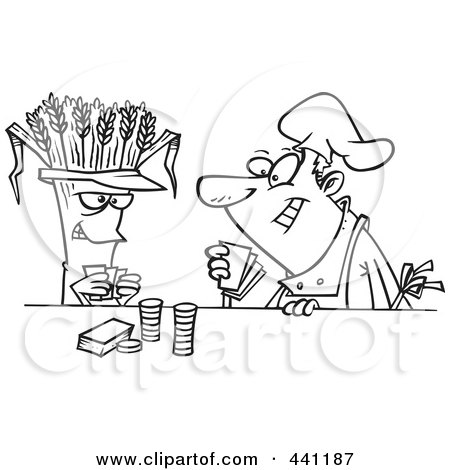 Royalty-Free (RF) Clip Art Illustration of a Cartoon Black And White Outline Design Of A Baker Playing Poker With Wheat by toonaday