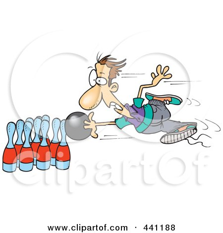 Royalty-Free (RF) Clip Art Illustration of a Cartoon Man Stuck To His Bowling Ball by toonaday