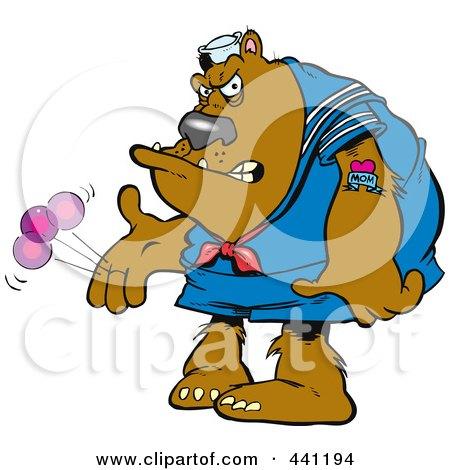 Royalty-Free (RF) Clip Art Illustration of a Cartoon Bratty Bear Plaing With A Yo Yo by toonaday