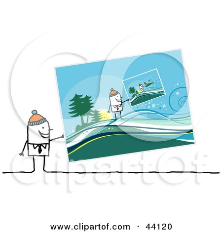 Clipart Illustration of a Stick Man Wearing A Cap And Holding A Picture Of Him Holding A Picture In A Winter Landscape by NL shop