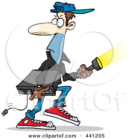 Royalty-Free (RF) Clip Art Illustration of a Cartoon Burglar Carrying An Electronic Device by toonaday
