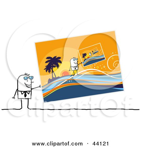 Clipart Illustration of a Stick Man Holding Up Summer Pictures Of Him On Vacation by NL shop
