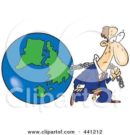 Royalty-free clipart picture of a businessman pulling earth, on a white