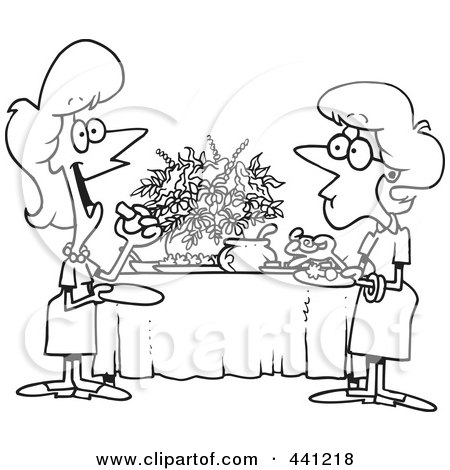 Royalty-Free (RF) Clip Art Illustration of a Cartoon Black And White Outline Design Of Ladies Talking And Eating At A Buffet by toonaday