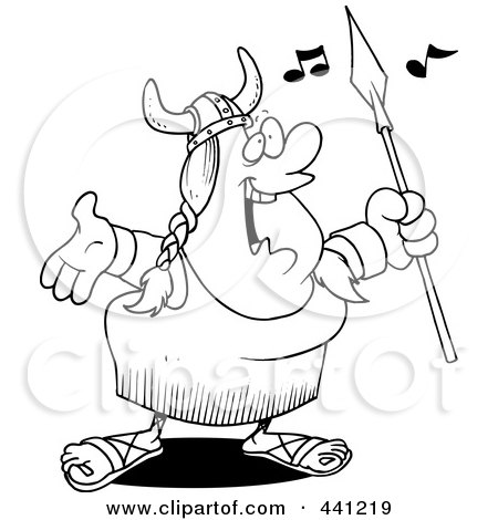 Royalty-Free (RF) Clip Art Illustration of a Cartoon Black And White Outline Design Of A Female Viking Opera Singer by toonaday