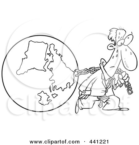 Royalty-Free (RF) Clip Art Illustration of a Cartoon Black And White Outline