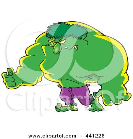 Royalty-Free (RF) Clip Art Illustration of a Cartoon Big Green Man by toonaday