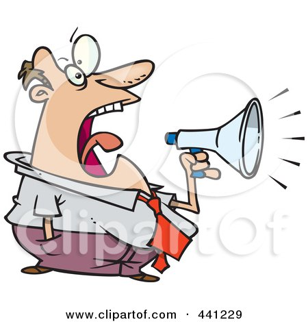 Royalty-Free (RF) Clip Art Illustration of a Cartoon Businessman Screaming Through A Bullhorn by toonaday