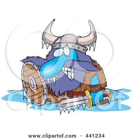 Royalty-Free (RF) Clip Art Illustration of a Cartoon Frozen Viking by toonaday