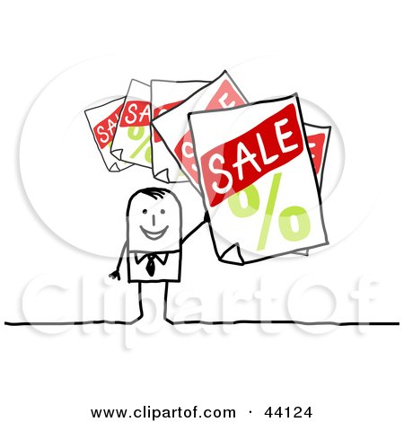 Clipart Illustration of a Retail Stick Man Holding Up Sale Signs by NL shop
