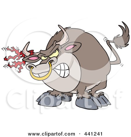 Royalty-Free (RF) Clip Art Illustration of a Cartoon Bull With Torn Fabric On His Horn by toonaday