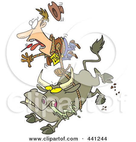 Royalty-Free (RF) Clip Art Illustration of a Cartoon Rodeo Bull And Cowboy by toonaday
