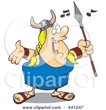 Royalty-Free (RF) Clip Art Illustration of a Cartoon Female Viking Opera Singer by toonaday